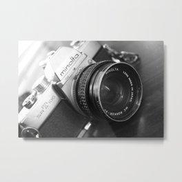 Vintage Minolta Camera 3 B&W Metal Print