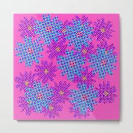 Blue on Pink Halftone Flowers Metal Print