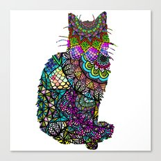 Abstract Pretty Kitty Cat Mandala Design Canvas Print