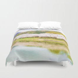Cherry tree and pond Duvet Cover