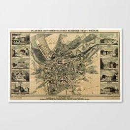 Plan der Grossherzoglichen Residenzstadt Weimar Canvas Print