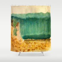 anxiety Shower Curtains featuring Tidal Anxiety by Jen Hallbrown