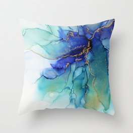 Electric Waves Violet Turquoise - Part 2 Throw Pillow