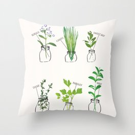 Mason Jar Herbs Throw Pillow