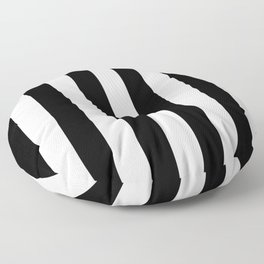 Simply Vertical Stripes in Midnight Black Floor Pillow