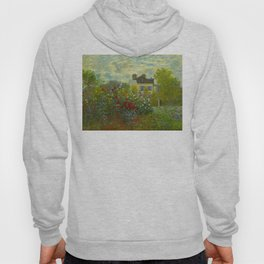 Claude Monet Impressionist Landscape Oil Painting A Corner of the Garden with Dahliass Hoody