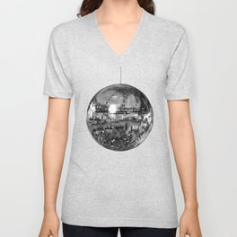 Silver Mirrored Disco Ball Unisex V-Neck