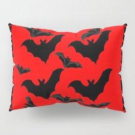 RED HALLOWEEN BATS ON BLEEDING RED ART DESIGN Pillow Sham