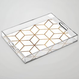 White and Gold - Geometric Cube Design Acrylic Tray