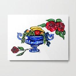 Classic Fruit Bowl Digital Enhanced Metal Print