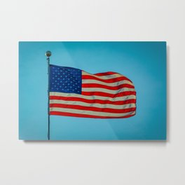 Old Glory Glowing in a Blue Sky American Flag Metal Print