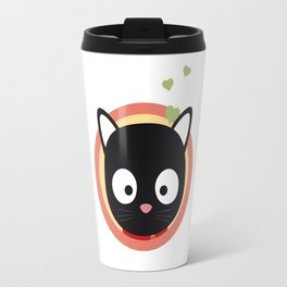 Black Cute Cat With Hearts Travel Mug