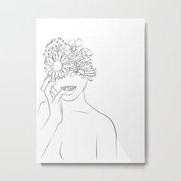 se ronger les ongles - cornée-Floral Illustration, Woman Wall Art Peony Art Metal Print