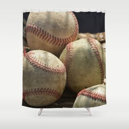 Baseballs and Glove Shower Curtain