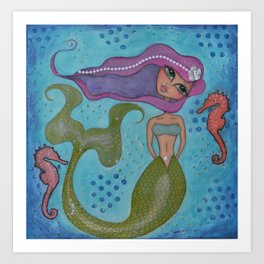 The Happy Mermaid Art Print