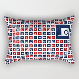Travel Icons in RWB Rectangular Pillow