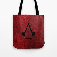 assassins creed Tote Bags featuring Creed Assassins Brotherhood by aleha