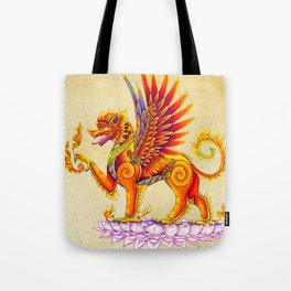 Singha Winged Lion Temple Guardian Tote Bag