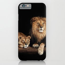 Portrait of Lion Family on dark background - vintage nature photo iPhone Case