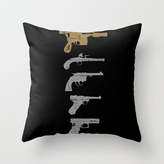 A long time ago with a blaster far, far away... Throw Pillow