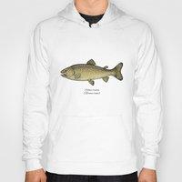 trout Hoodies featuring Brown trout by Eugenia Hauss