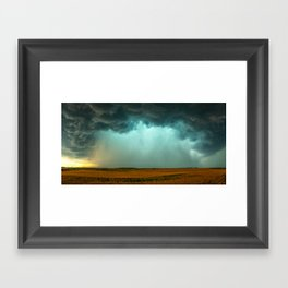 Open the Heavens - Panoramic Storm with Teal Hue in Northern Oklahoma Framed Art Print