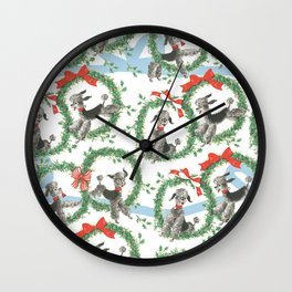 POODLES celebrate CHRISTMAS with a blue ribbon Wall Clock