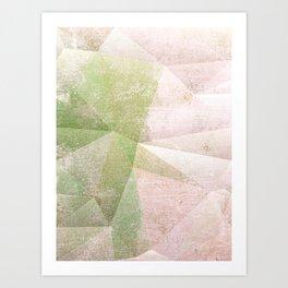 Frozen Geometry - Pink & Green Art Print