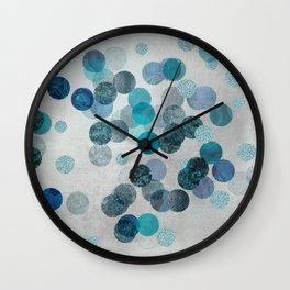 Shiny Glamour Dots Blue Aqua Teal Pattern Glitter  #blueglamour Wall Clock