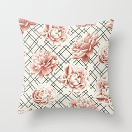Simply Mod Diamond Roses in Cream and Black Throw Pillow