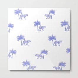 Tiger,Indian jungle white and blue pattern decor Metal Print