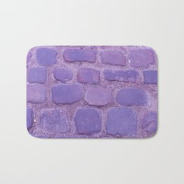 Ultra Violet Texture Ancient Cobblestone Roadway Close-up Bath Mat
