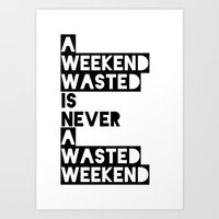 A Weekend Water (Black) Art Print