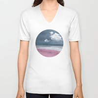 lonely V-neck T-shirts featuring LONELY BEACH by INA FineArt