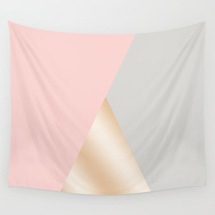 Modern blush pink, grey & rose gold geometric triangles Wall Tapestry