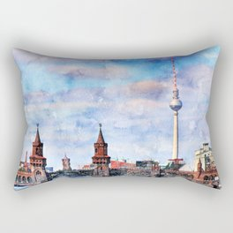Berlin, Germany Watercolor Cityscape Rectangular Pillow