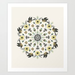 Blackbird Floral Mandala Art Print