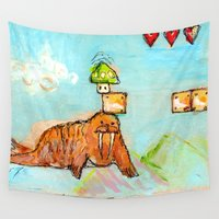 walrus Wall Tapestries featuring 1-Up Walrus by Taylor Winder