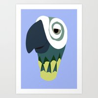 parrot Art Prints featuring Parrot  by Jessica Slater Design & Illustration