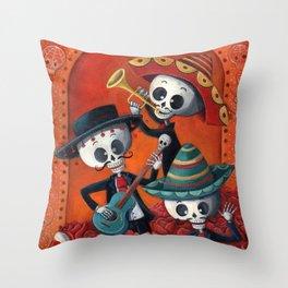 Dia de Muertos Musical Skeleton Band Throw Pillow