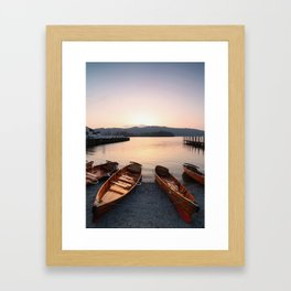 Rowing boats at Bowness, Windermere in the Lake District Framed Art Print