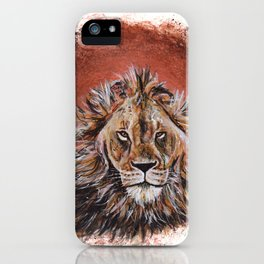 African Lion in Circle iPhone Case