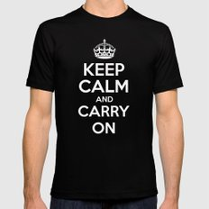 Keep Calm and Carry On - Red Book Black Mens Fitted Tee MEDIUM