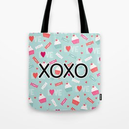 Valentine Cupcakes, Candy, and Whipped Cream Pattern Tote Bag