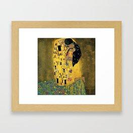 Curly version of The Kiss by Klimt Gerahmter Kunstdruck