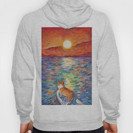 Corgi - sunset surfer Hoody
