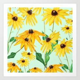 yellow sun choke flower 2 Art Print