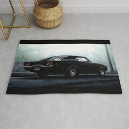 CLASSIC MUSCLE CAR IN BLACK DURING FOG Rug