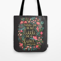 floral Tote Bags featuring Little & Fierce on Charcoal by Cat Coquillette