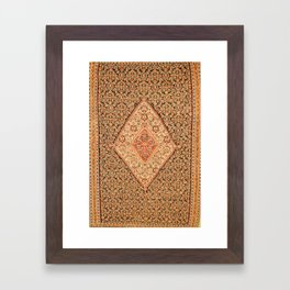 Senneh  Antique Kurdistan Northwest Persian Kilim Print Framed Art Print